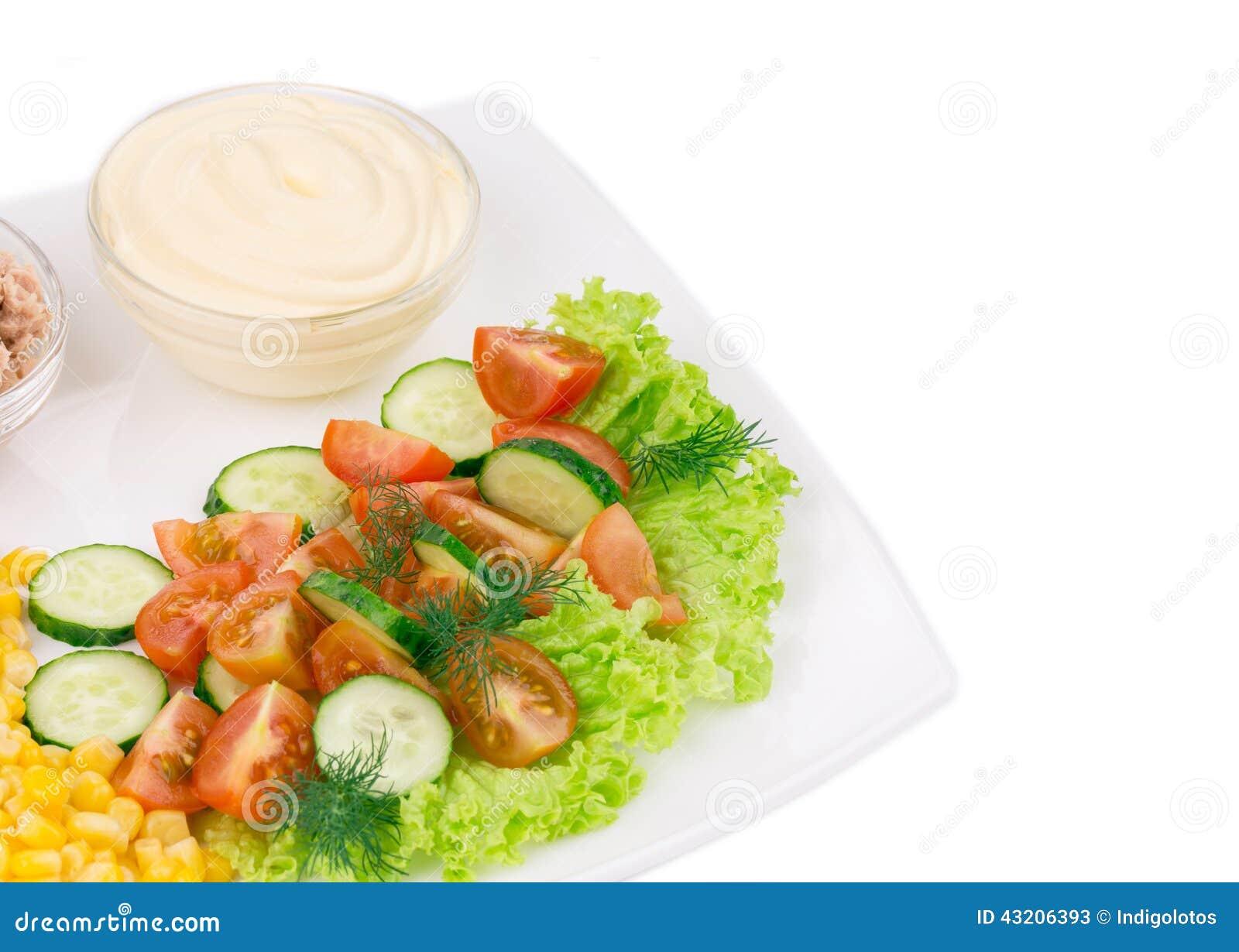 Download Tonfisksallad Med Sås Och Grönsaker Fotografering för Bildbyråer - Bild av färgrikt, kokkonst: 43206393