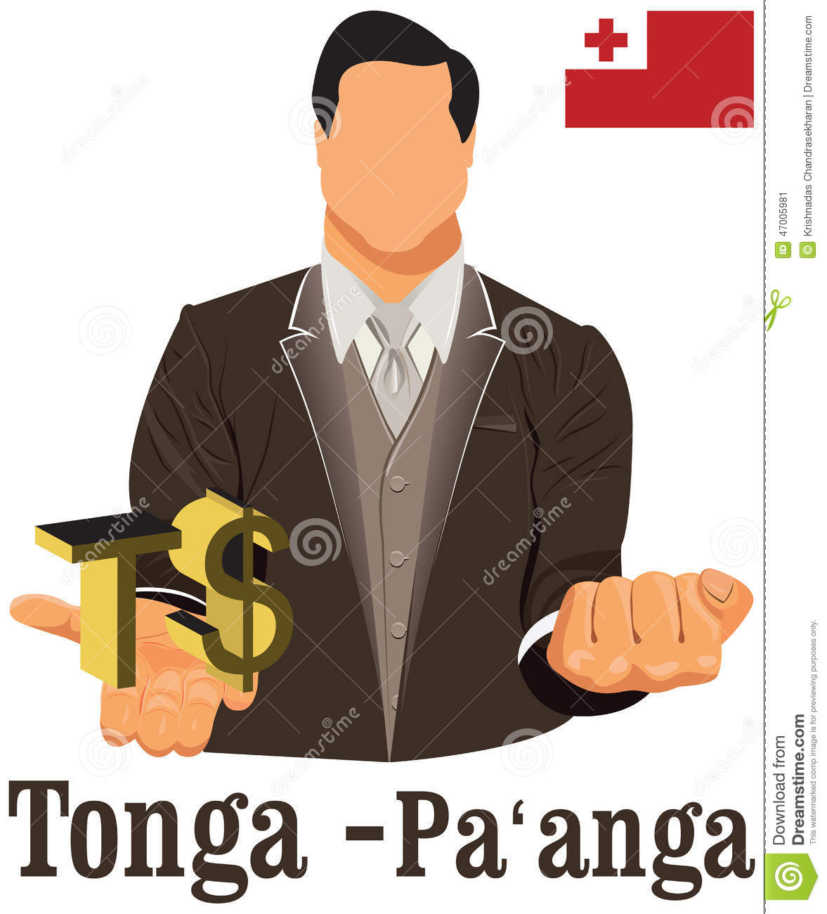 Tonga Currency Symbol Paanga Representing Money And Flag. Stock ...