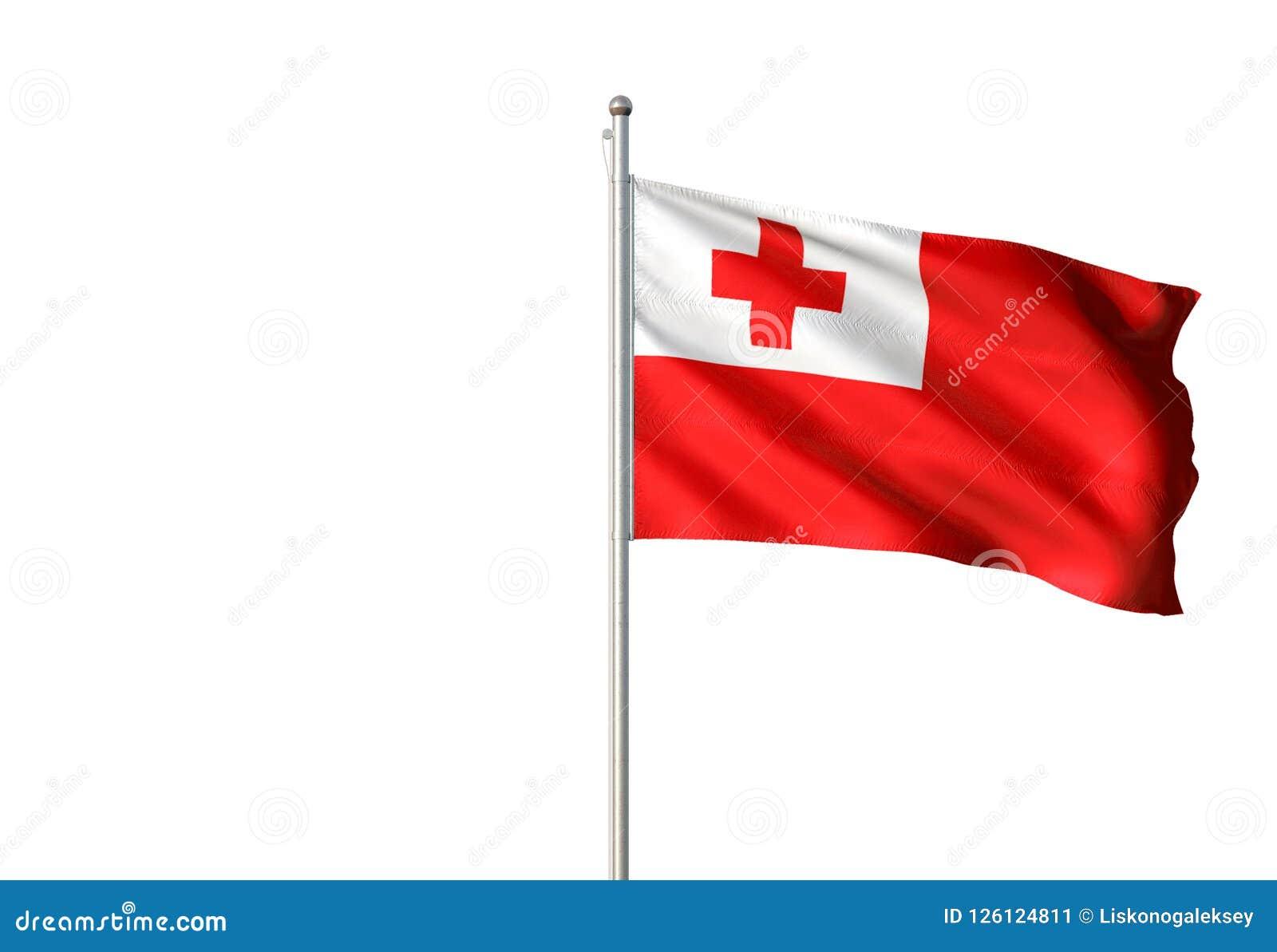 Tonga National Flag Waving Isolated White Background Realistic 3d