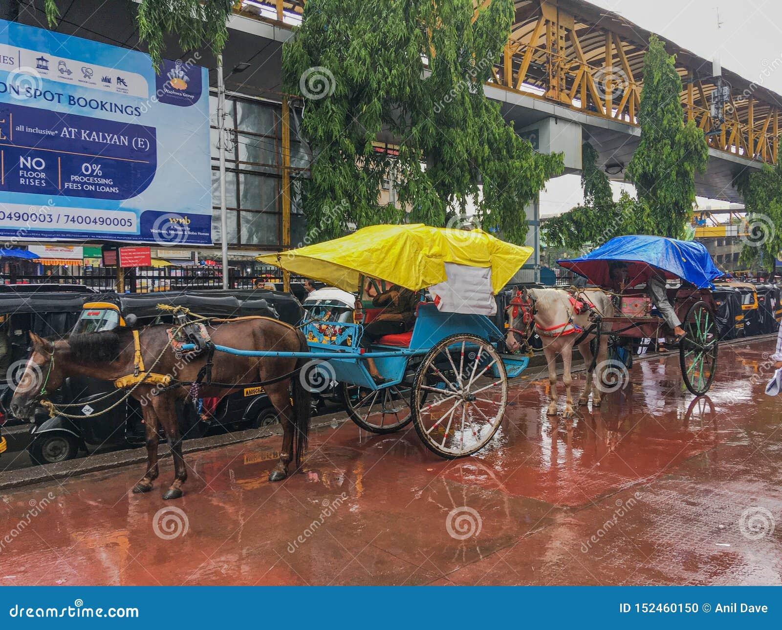 Tongahorse vagn på den Kalyan järnvägsstationen på monsunmaharashtraen INDIEN