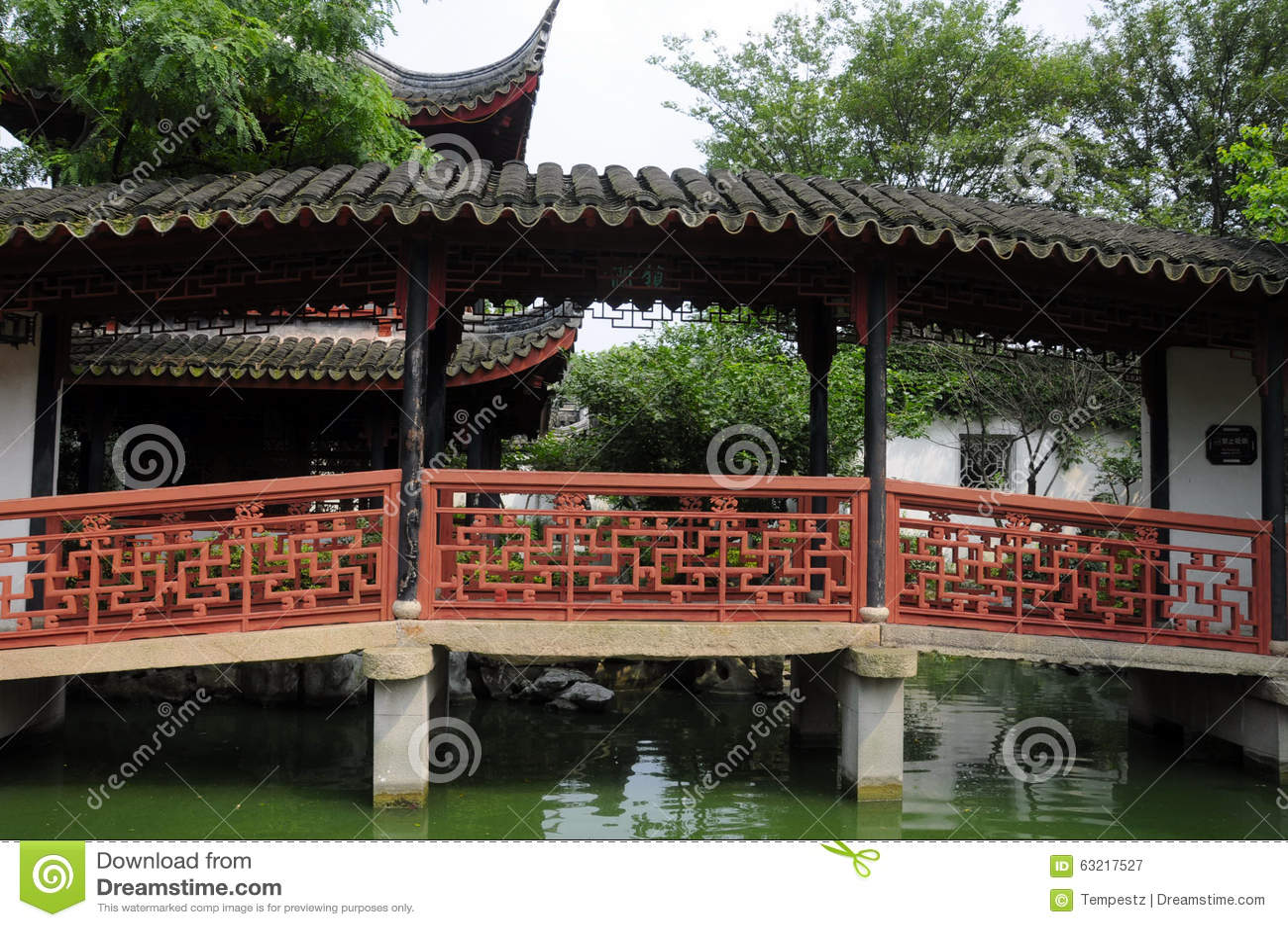 Tongli pearl pagoda bridge stock photo image 63217527 for Japanese style bridge