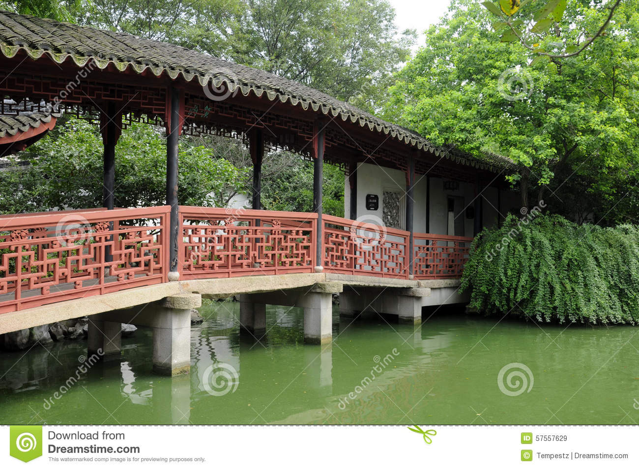 Tongli Pearl Pagoda Garden Bridge Stock Image