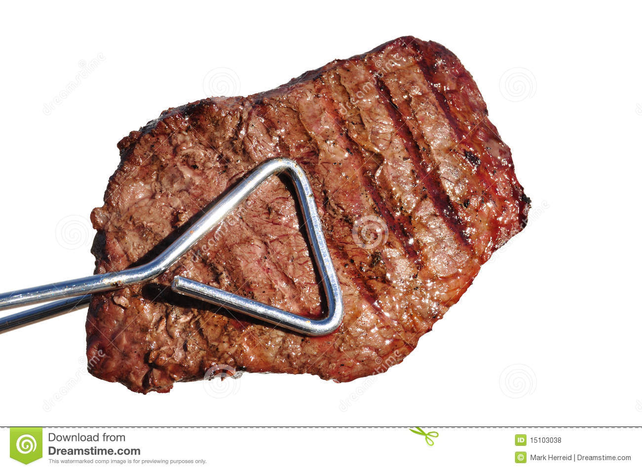 Tongs Holding Grilled Beef Loin Top Sirloin Steak Royalty ...