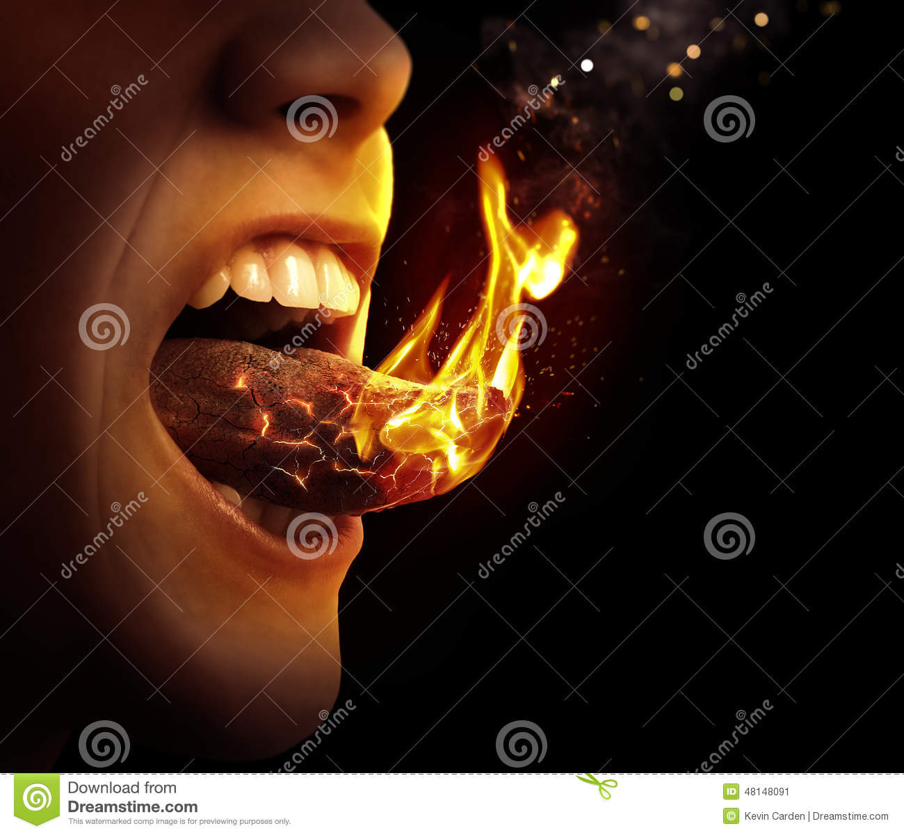 Hot Un Stock >> Tongue On Fire Stock Photo - Image: 48148091
