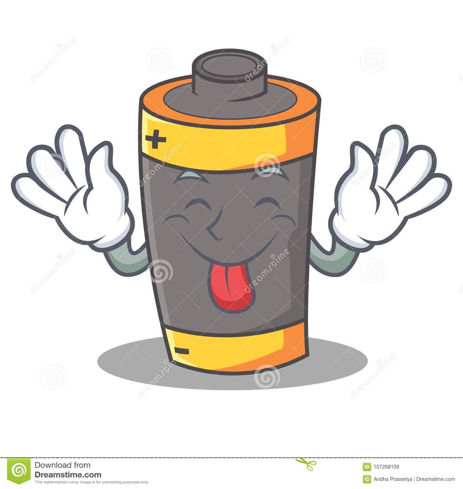 Tongue out battery mascot cartoon style