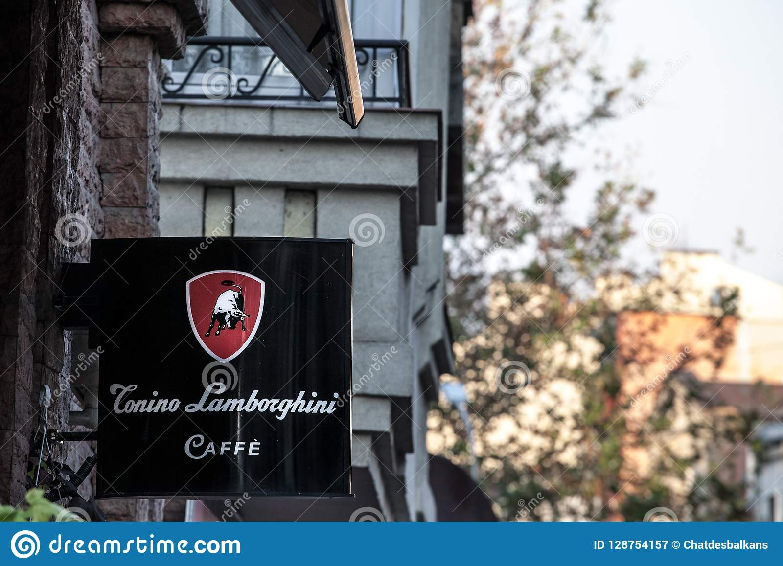 Tonino Lamborghini Caffe Logo Lit On A Cafe Bar Of Belgrade During
