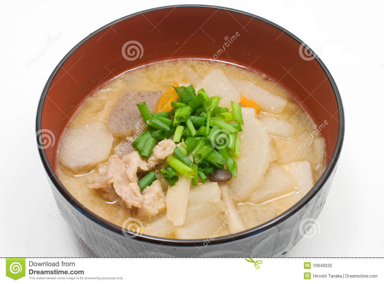 Japanese pork meat and vesitable soup named Tonjiru.