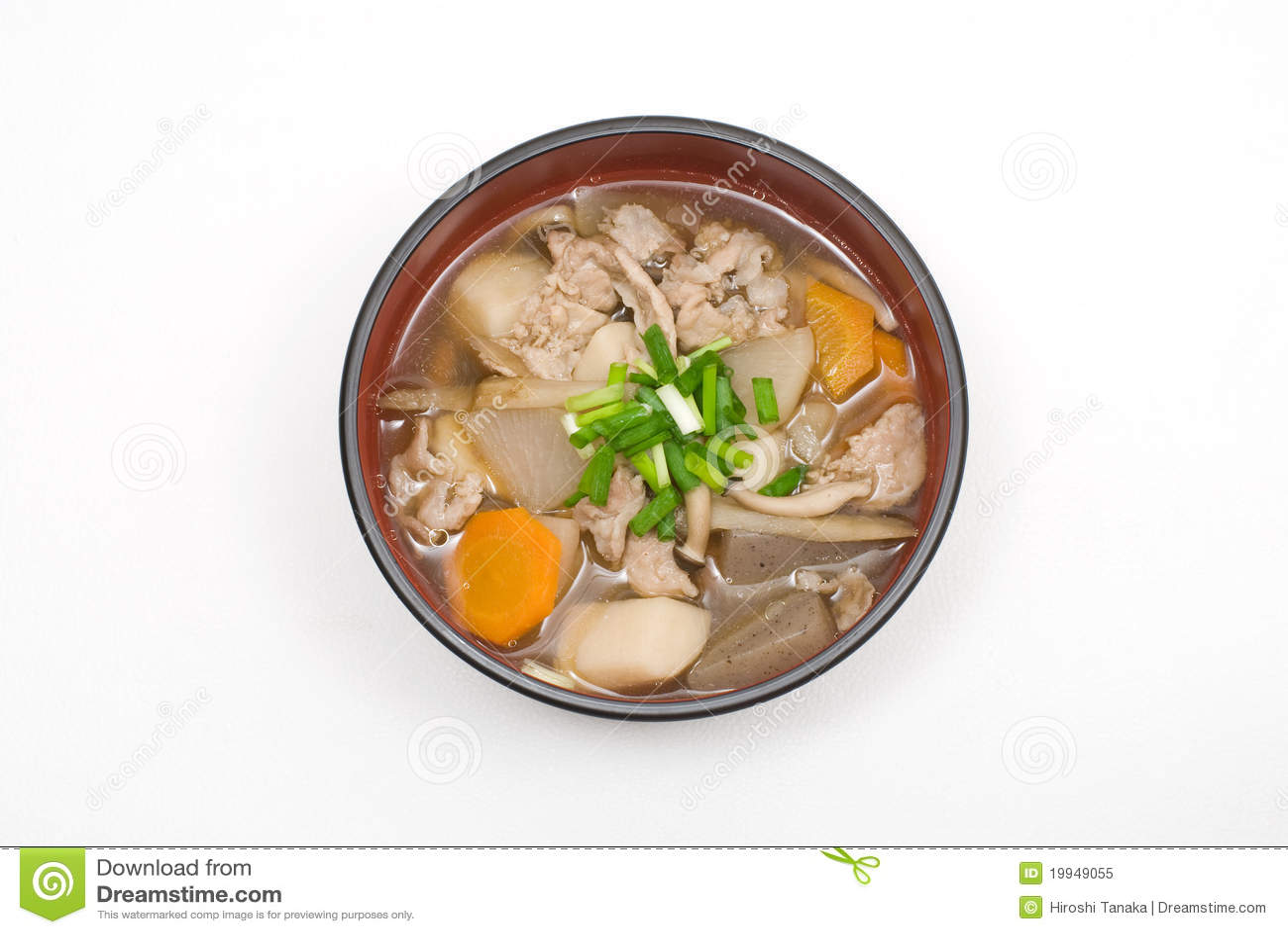 Japanese pork meat and vesitable soup named Tonjiru.