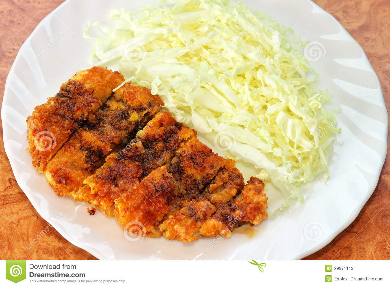 Tonkatsu. Japanese pork cutlet with cabbage on white plate. Japanese ...