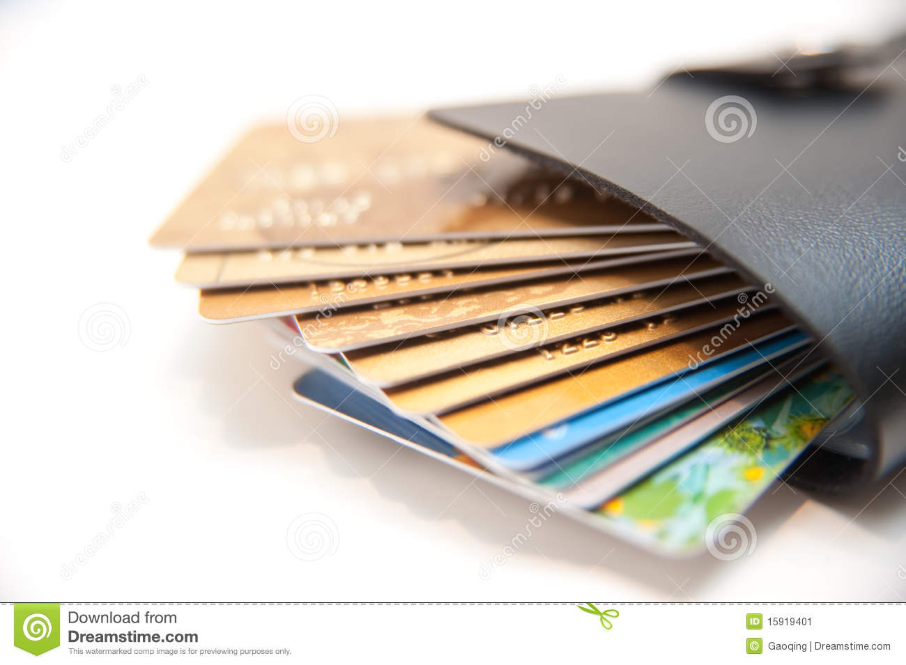 too much credit card in wallet stock image - image of background