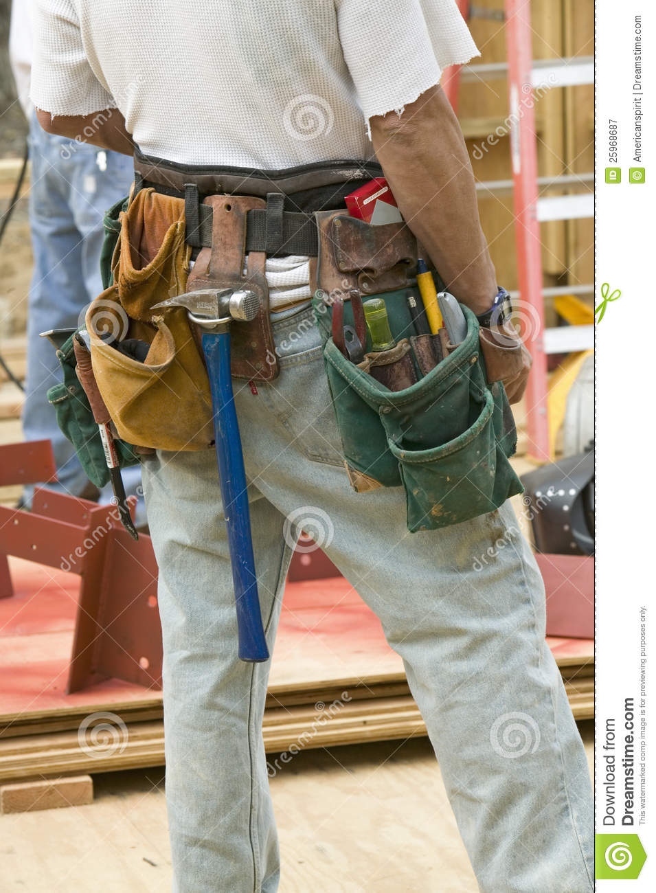 tool belt of carpenter editorial photography