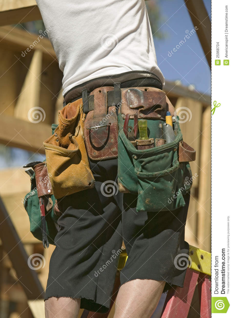 tool belt of carpenter editorial stock image
