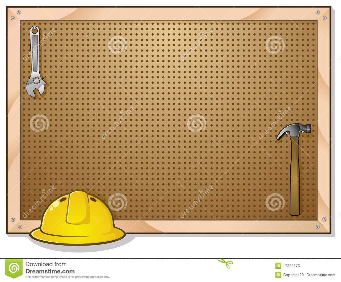 Tool bench peg board stock vector illustration of bench for Picture hanging pegs