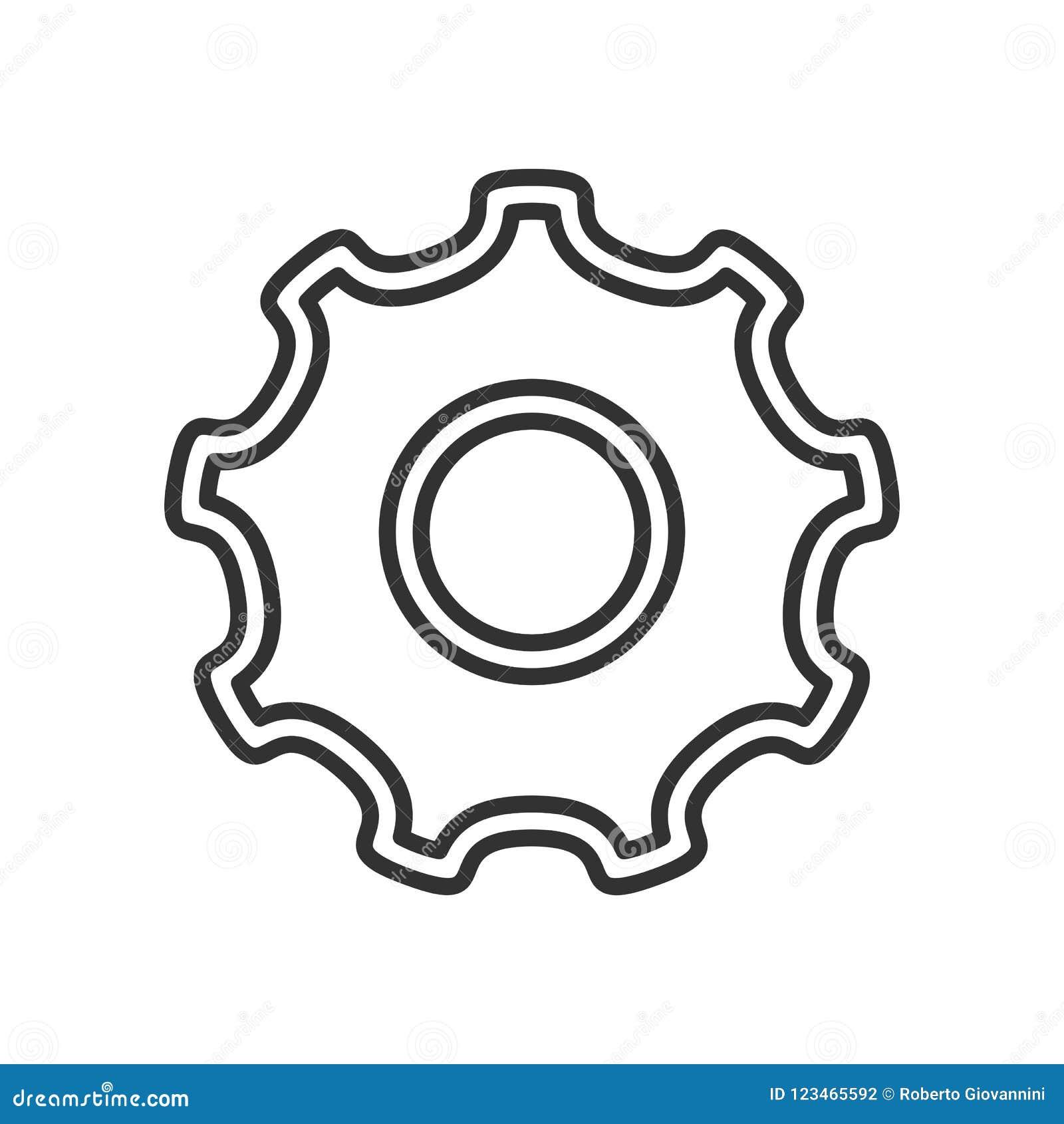 Tool Gear Wheel Outline Flat Icon on White