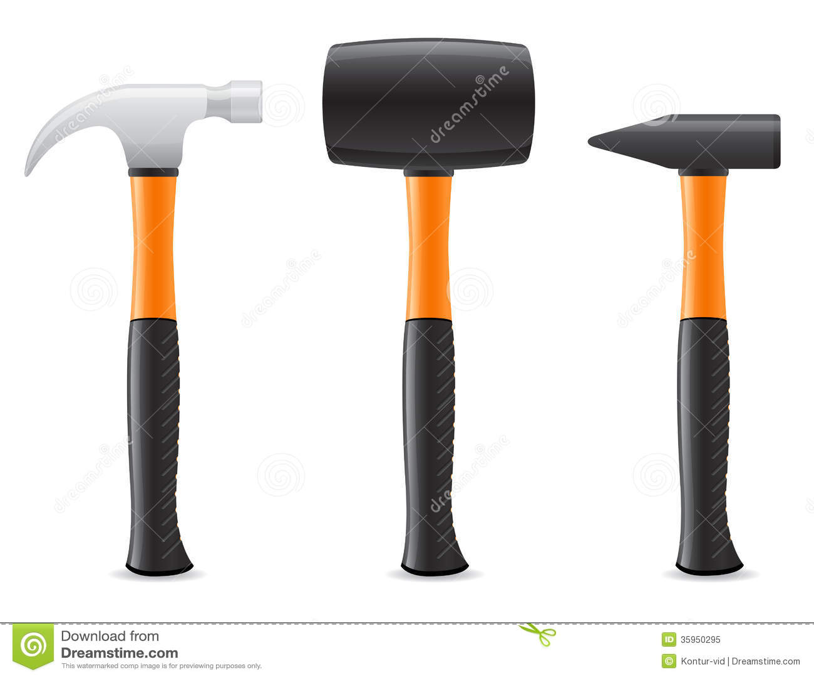 Vector Illustration Hammer: Tool Hammer With Plastic Handle Vector Illustratio Stock