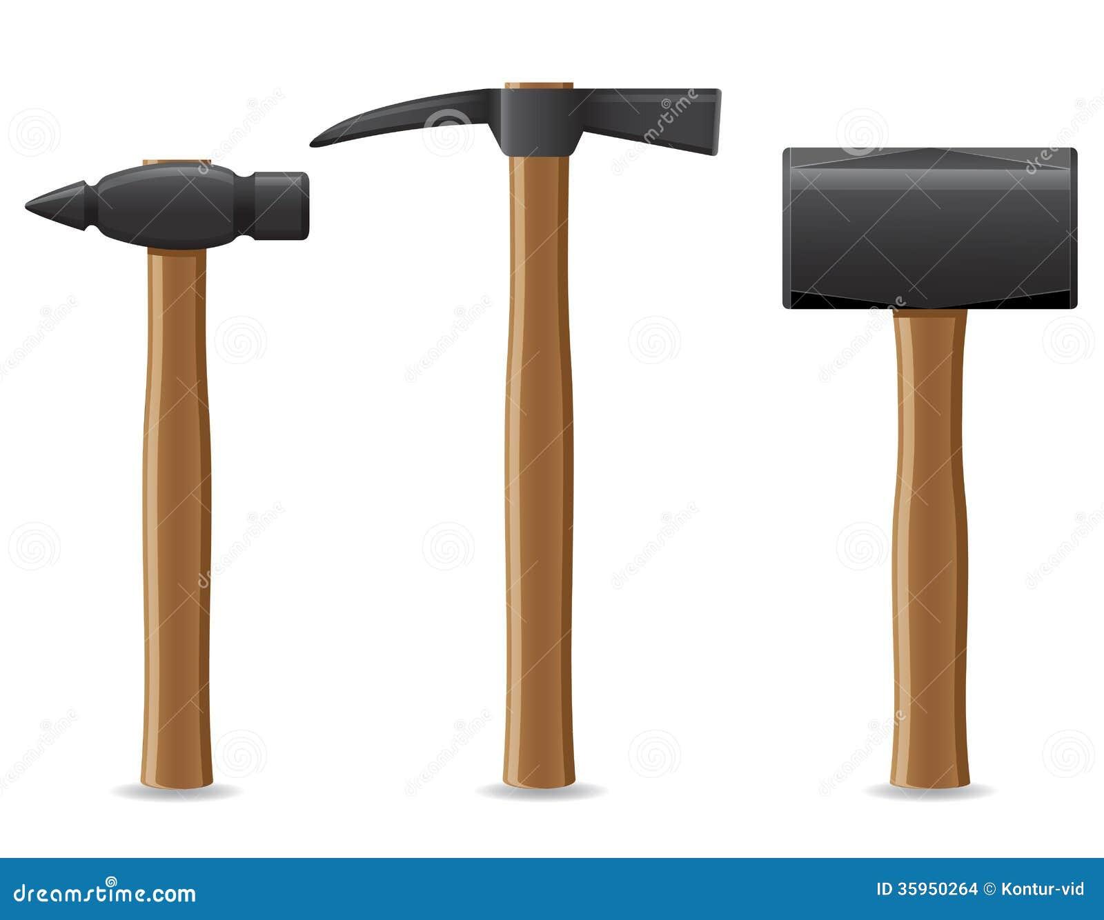 Vector Illustration Hammer: Tool Hammer With Wooden Handle Vector Illustration Stock