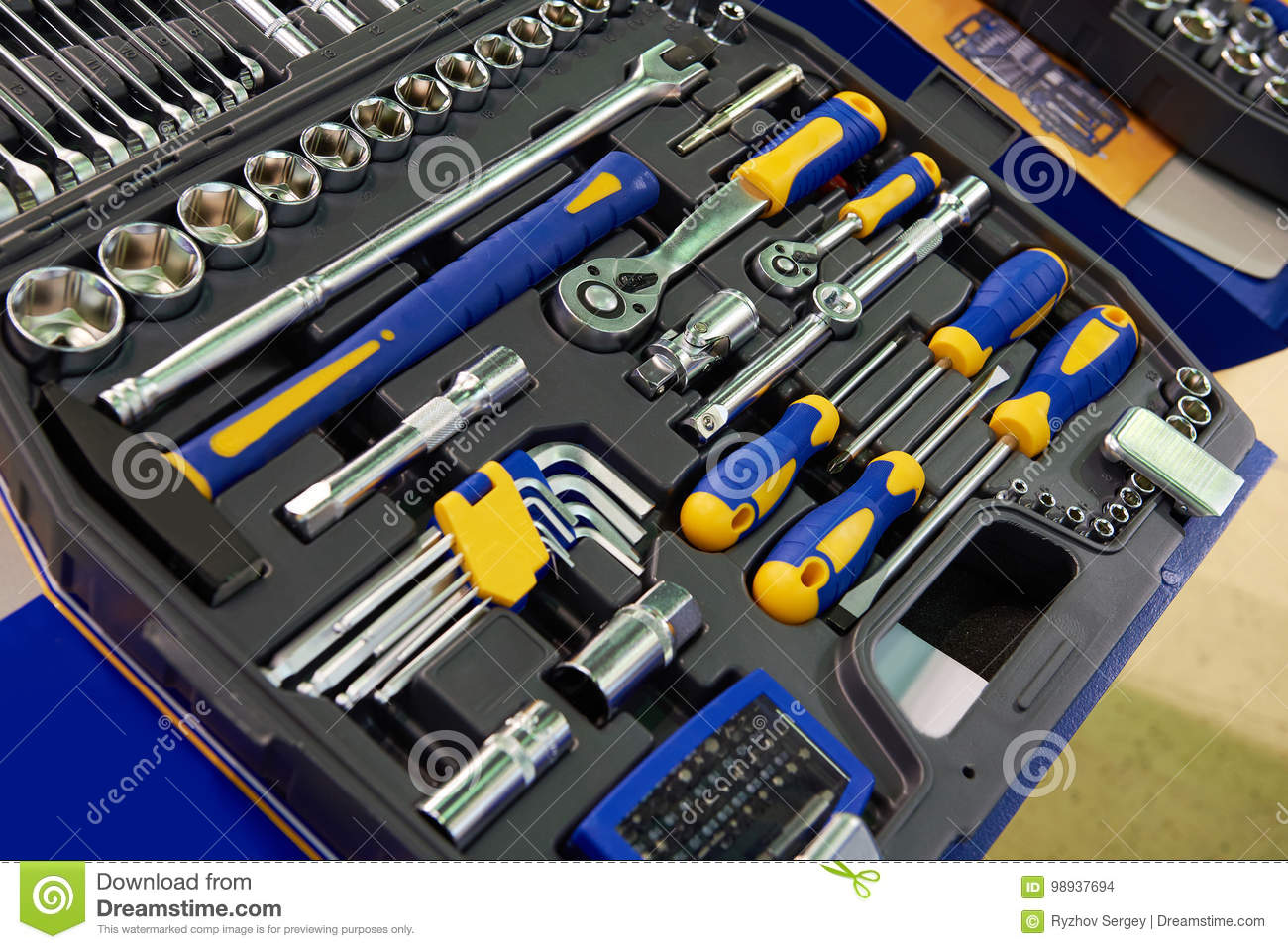 Tool Kit Socket Wrenches In Plastic Box Stock Photo