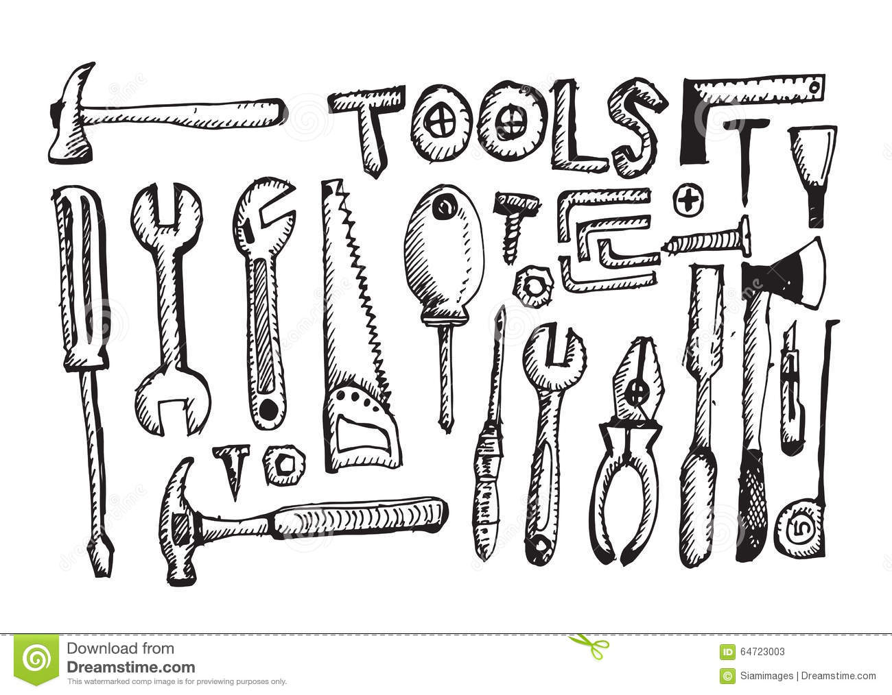Tool Set Hand Draw stock vector. Illustration of doodle - 64723003