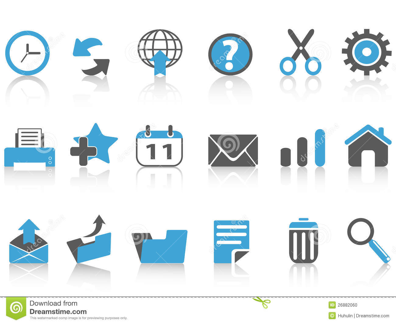 Toolbar Icons Set,blue Series Stock Vector