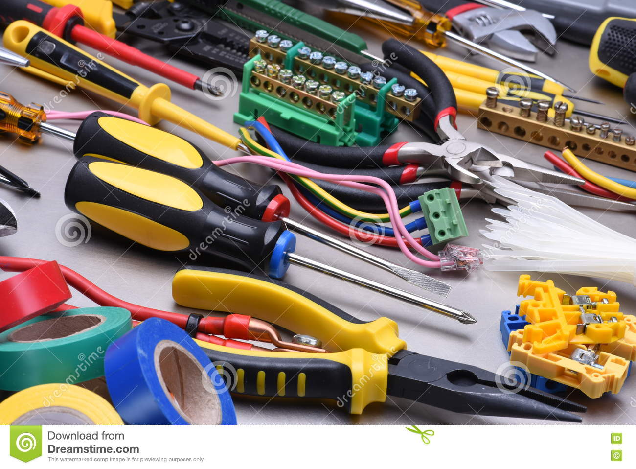 Excellent Tools And Accessories Used In Electrical Installations Stock Image Wiring Cloud Hisonuggs Outletorg