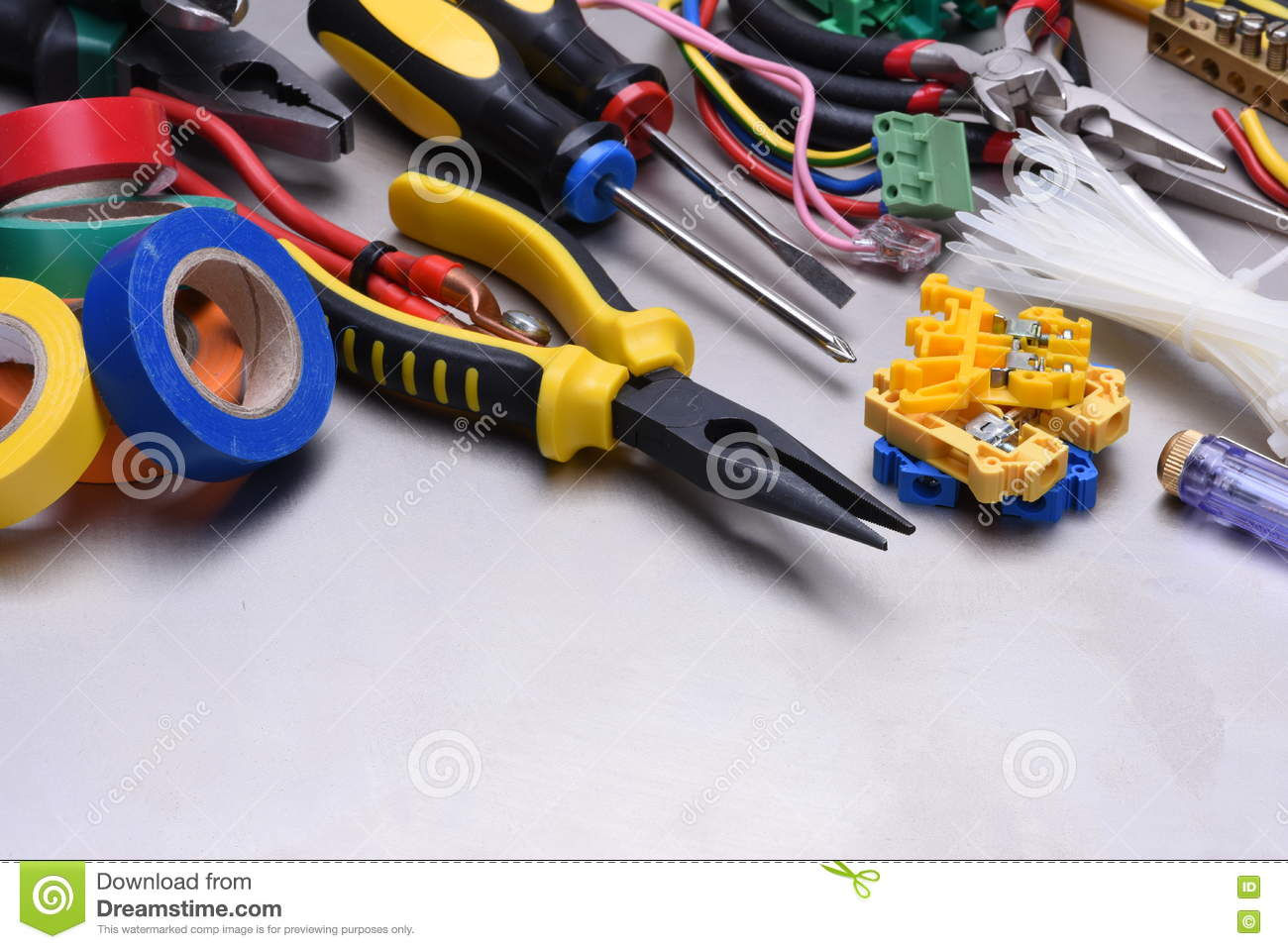 Pleasing Tools And Accessories Used In Electrical Installations Stock Photo Wiring Cloud Hisonuggs Outletorg