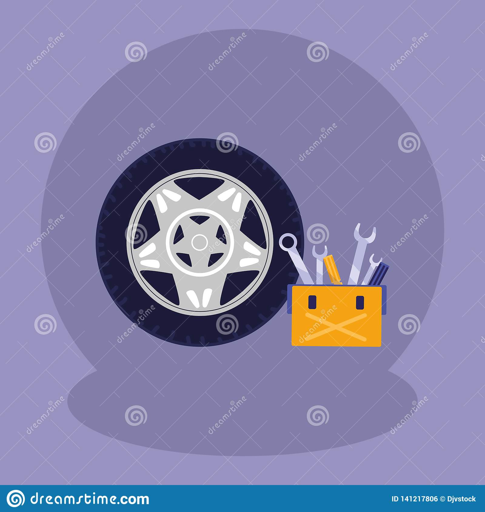 Tools Box Mechanic With Tire Track Stock Vector - Illustration of