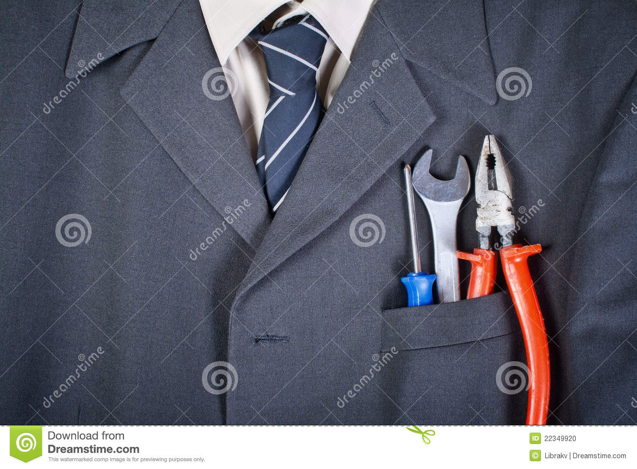 Tools in the businessman pocket