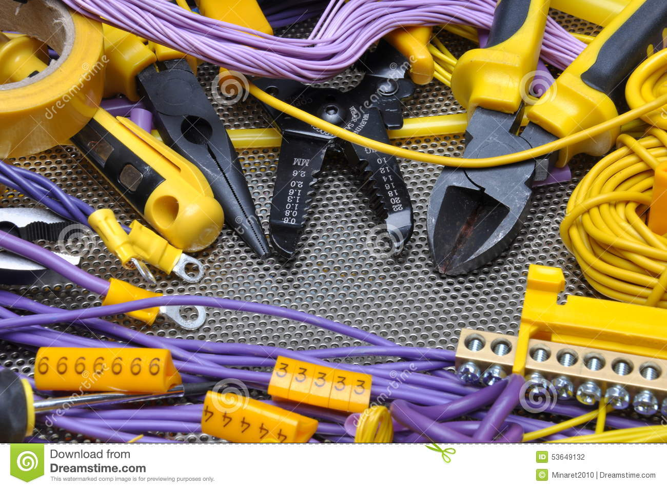 Tools And Component For Electrical Installation Stock Photo Image Cable Wiring Contractor