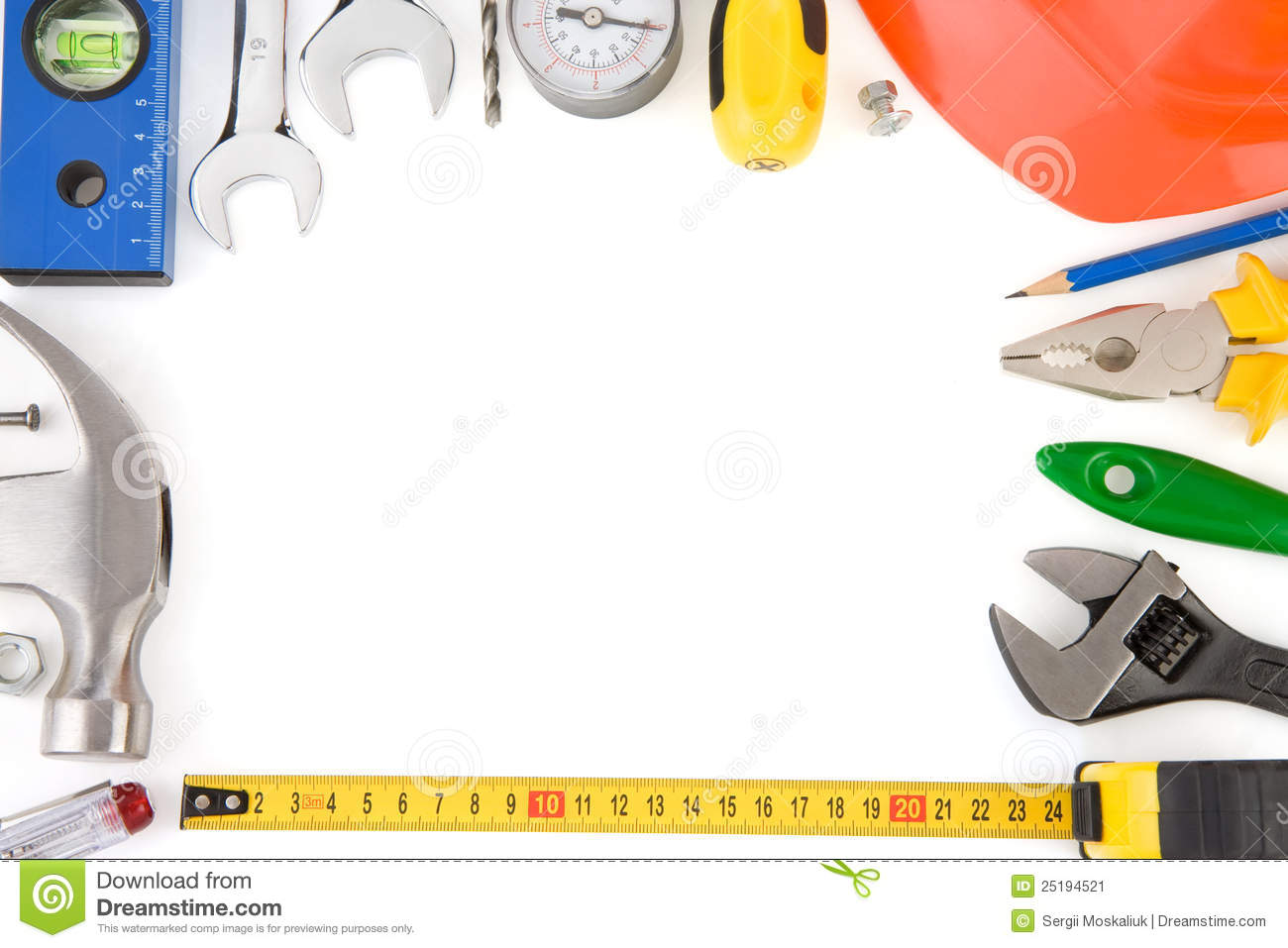 Tools And Construction Equipment On White