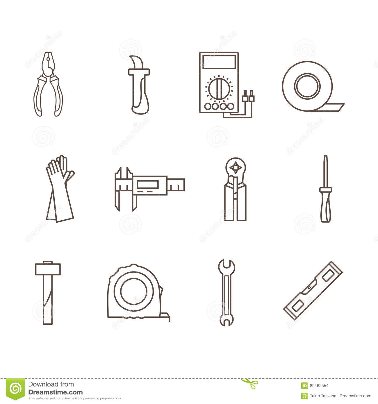 tools electrician in the style of the outline stock vector rh dreamstime com Electrical Wiring Diagrams Residential Electrical Wiring Diagrams