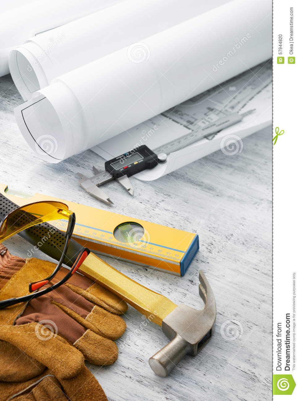 Tools And Floor Plan Stock Photo Image 57944820