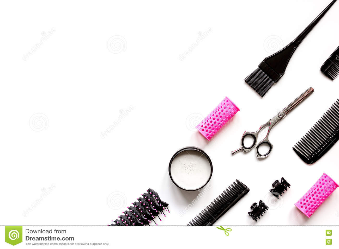 Tools Hair Styling White Background Top View Stock Images ...