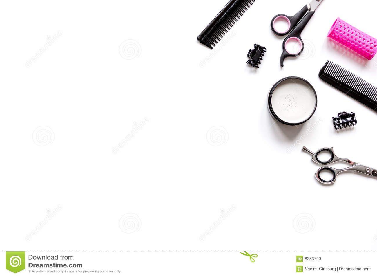 Tools For Hair Styling On White Background Top View Stock ...