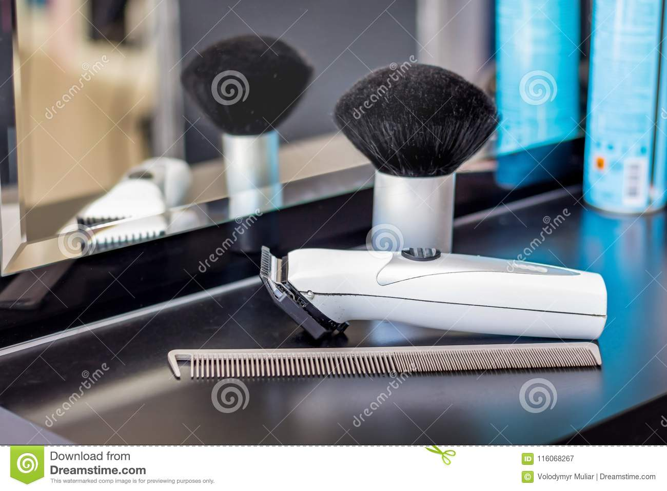 Tools For Hairstyles At Hairdressing Table. Modern ...