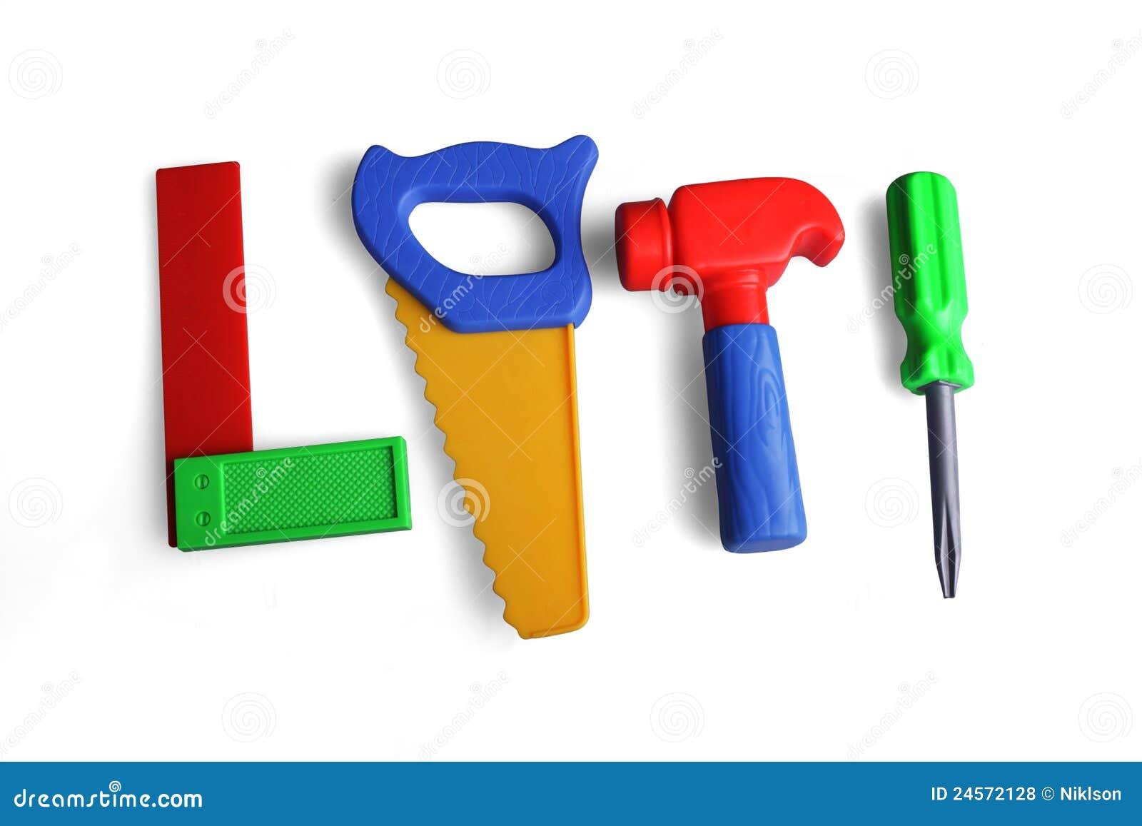 Plastic Toy Tools : Tools hammer saw screwdriver angle plastic stock