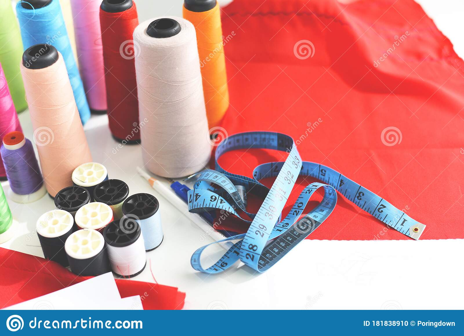 Tools Handicraft Measuring Tape Sewing Thread And Needle Thread For Fashion Designer In Studio Textile Material Scissors Cutting Stock Photo Image Of Seam Needlework 181838910
