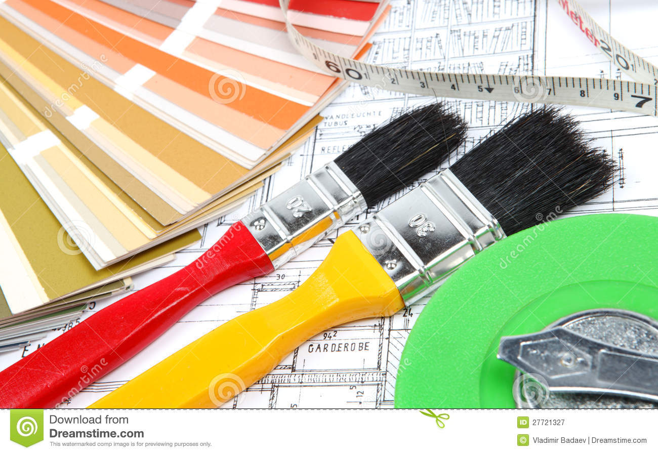 Tools for home renovation on architectural drawing stock for Architecture drawing tools