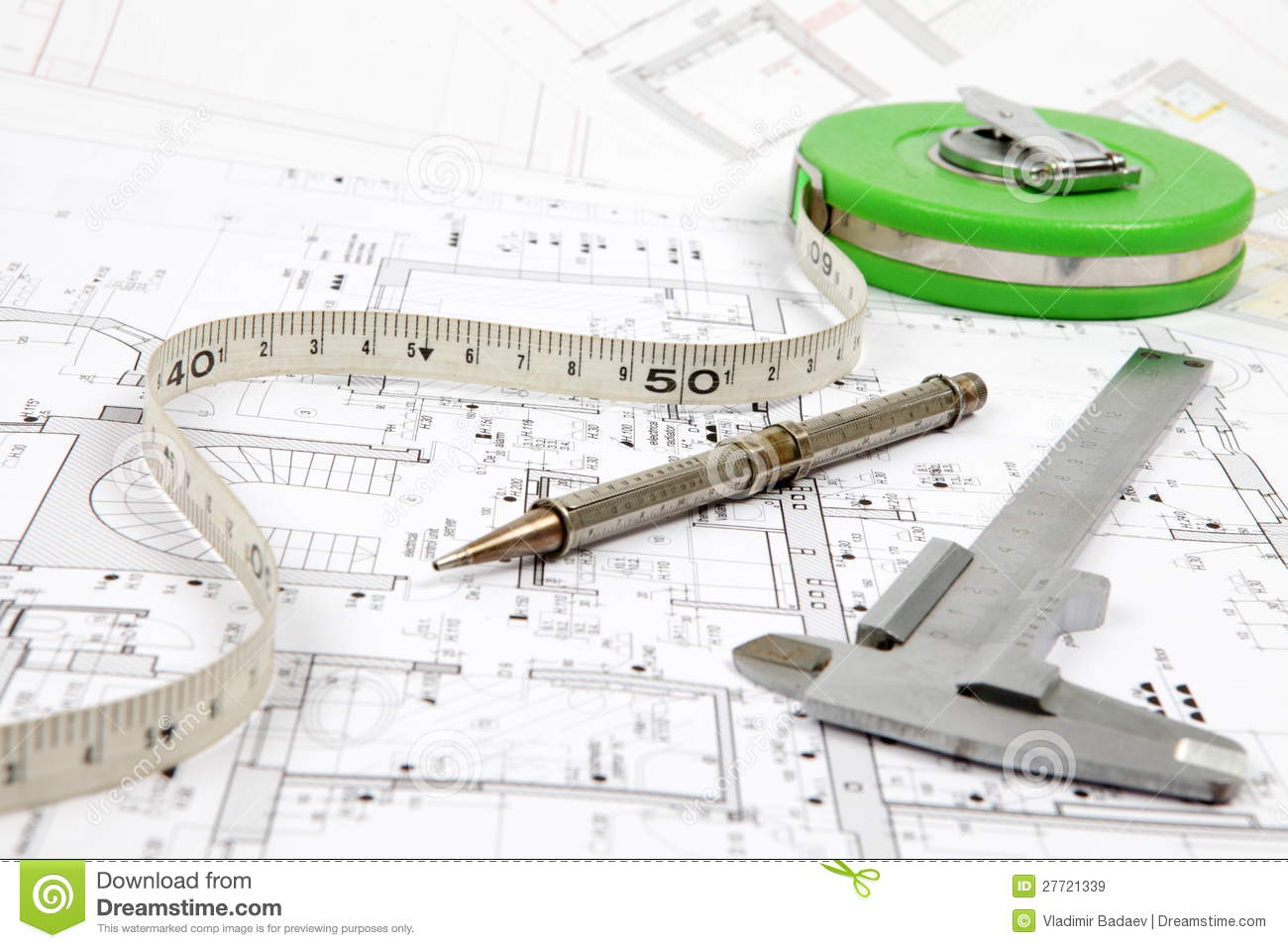 Tools For Home Renovation On Architectural Drawing Royalty Free Stock Images Image 27721339