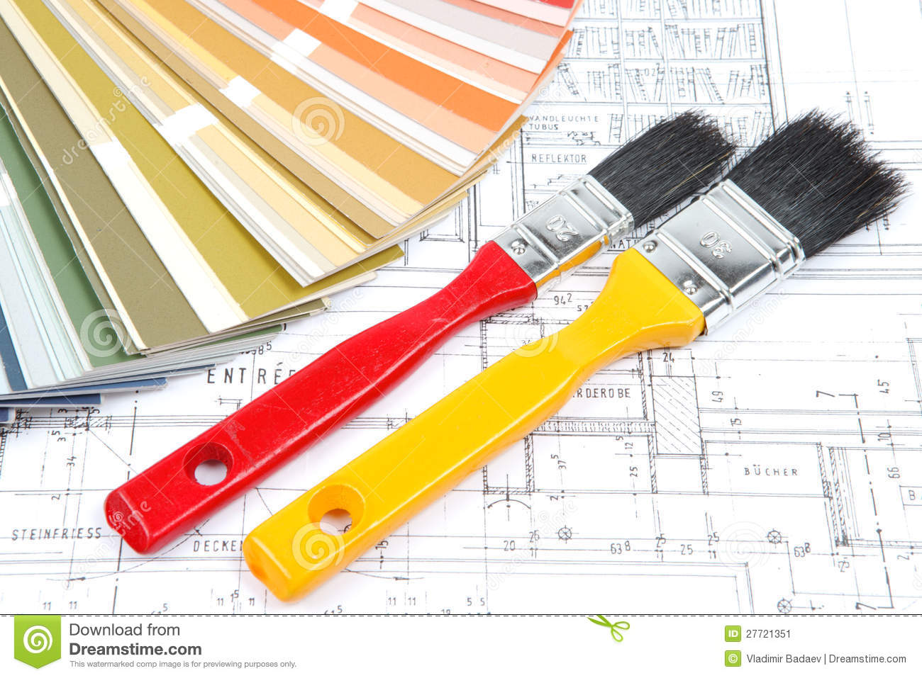 tools for home renovation on architectural drawing stock