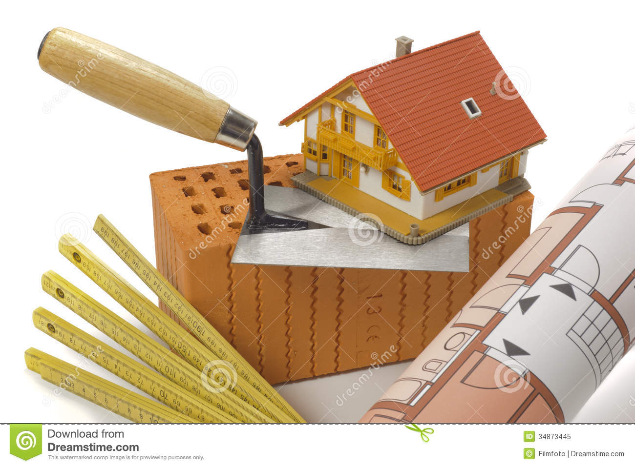 Tools for house building stock image image of plan for Materials needed to build a house