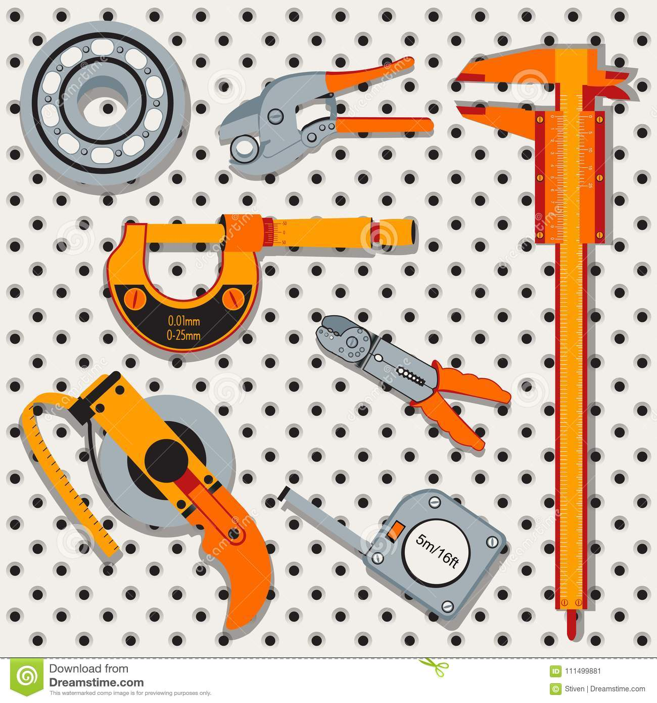 Tools icons over metal background