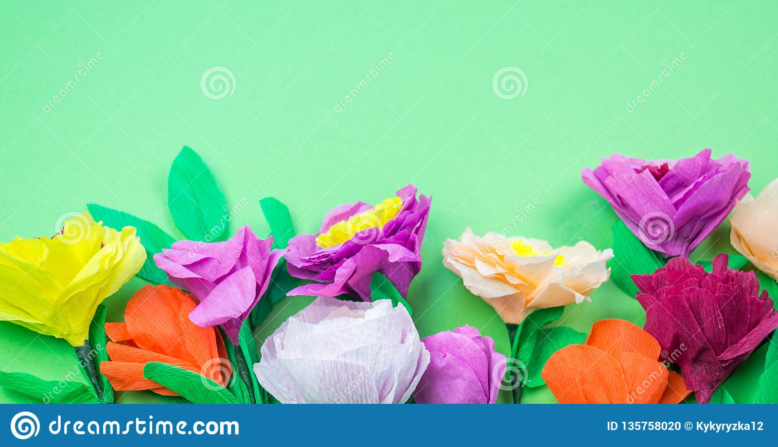 Tools Making Crepe Paper Flowers Green Background Stock Photo