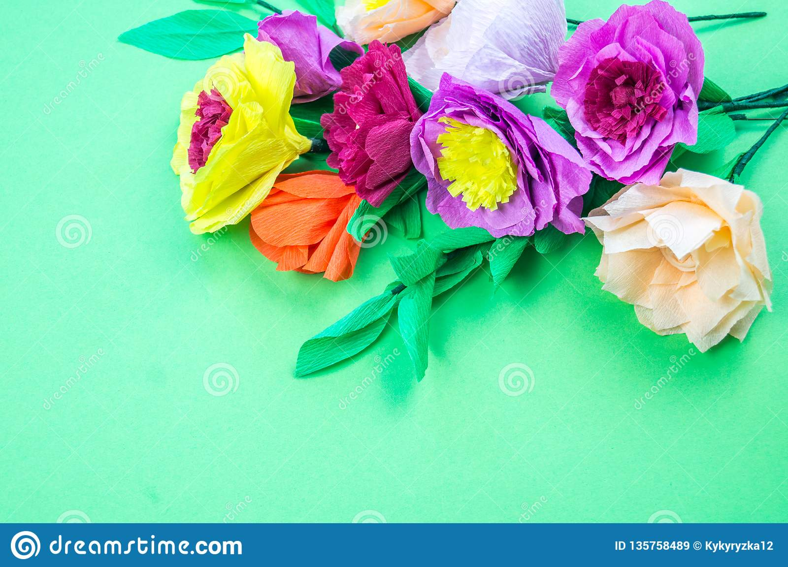 Tools Making Crepe Paper Flowers Green Background Stock Image