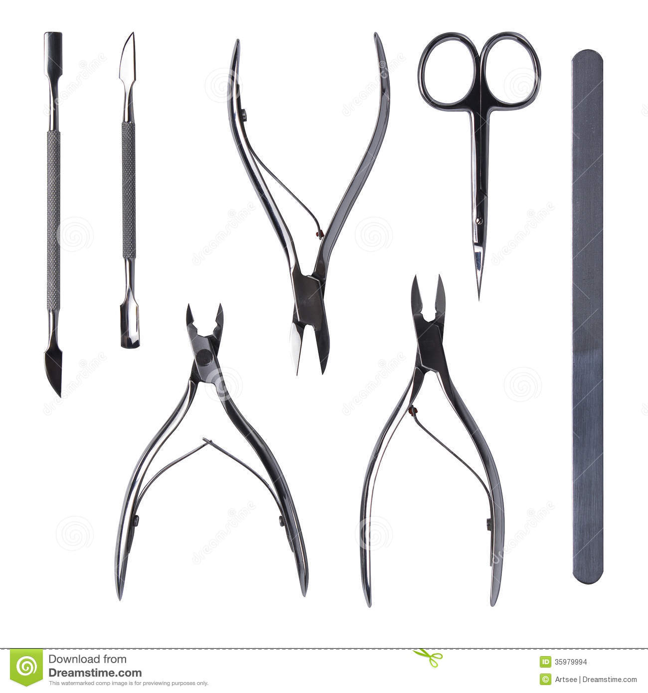 Tools Of A Manicure Set On A White Background Stock Photo - Image of ...