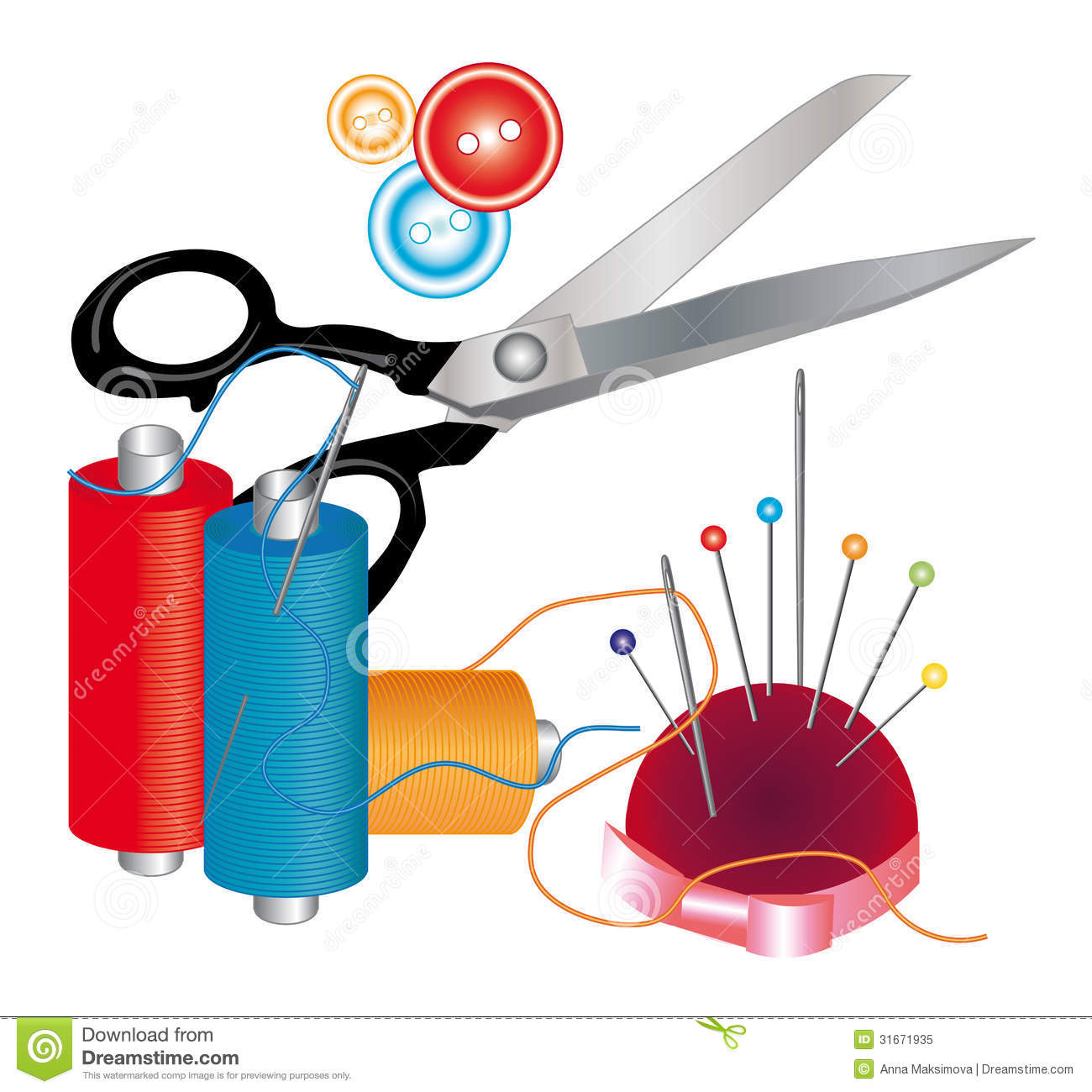 Tools and materials for sewing stock vector illustration for Sewing materials