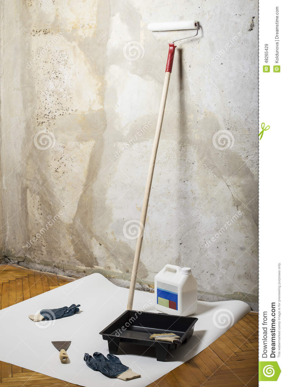 Wall Painting Equipment : Tools for painting stock photo image