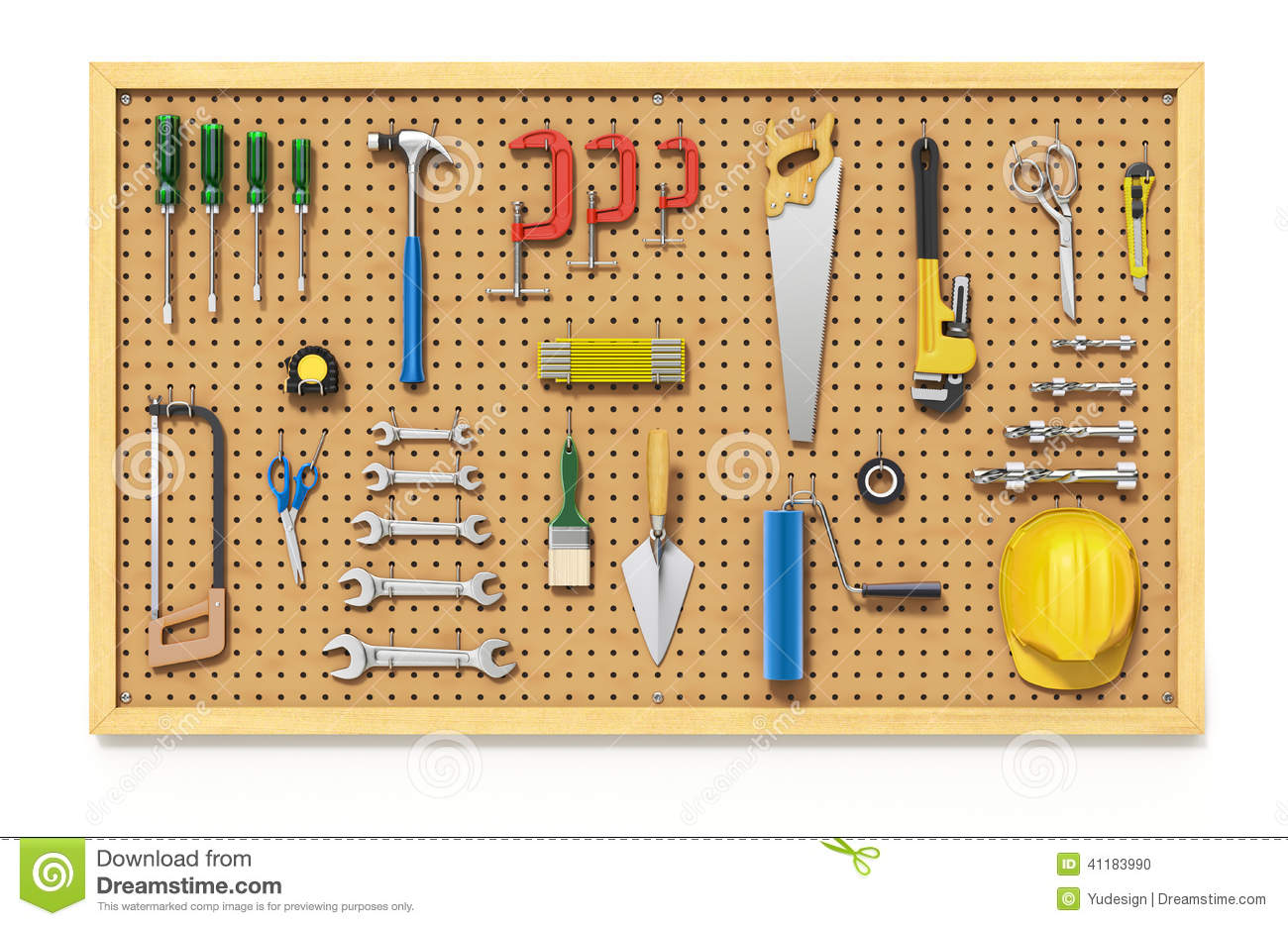 Download Floor Plans Tools On A Pegboard Stock Illustration Image 41183990