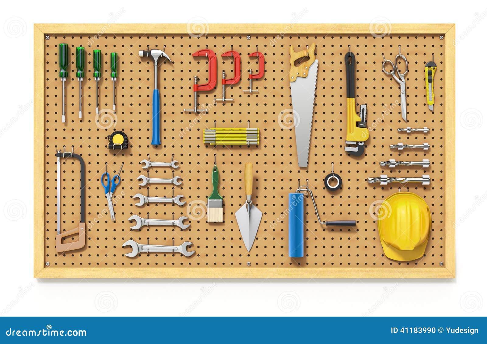 Garage Floor Plans Tools On A Pegboard Stock Illustration Image 41183990