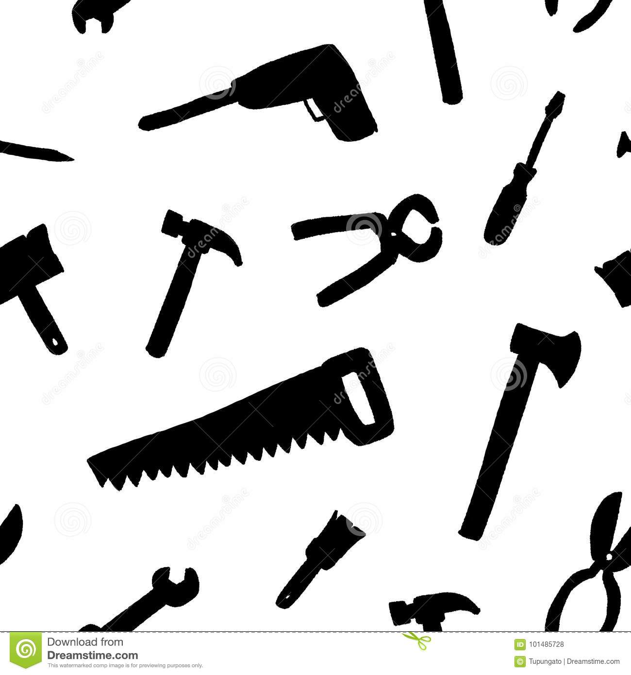 Tools Seamless Background Stock Vector Illustration Of Drawn