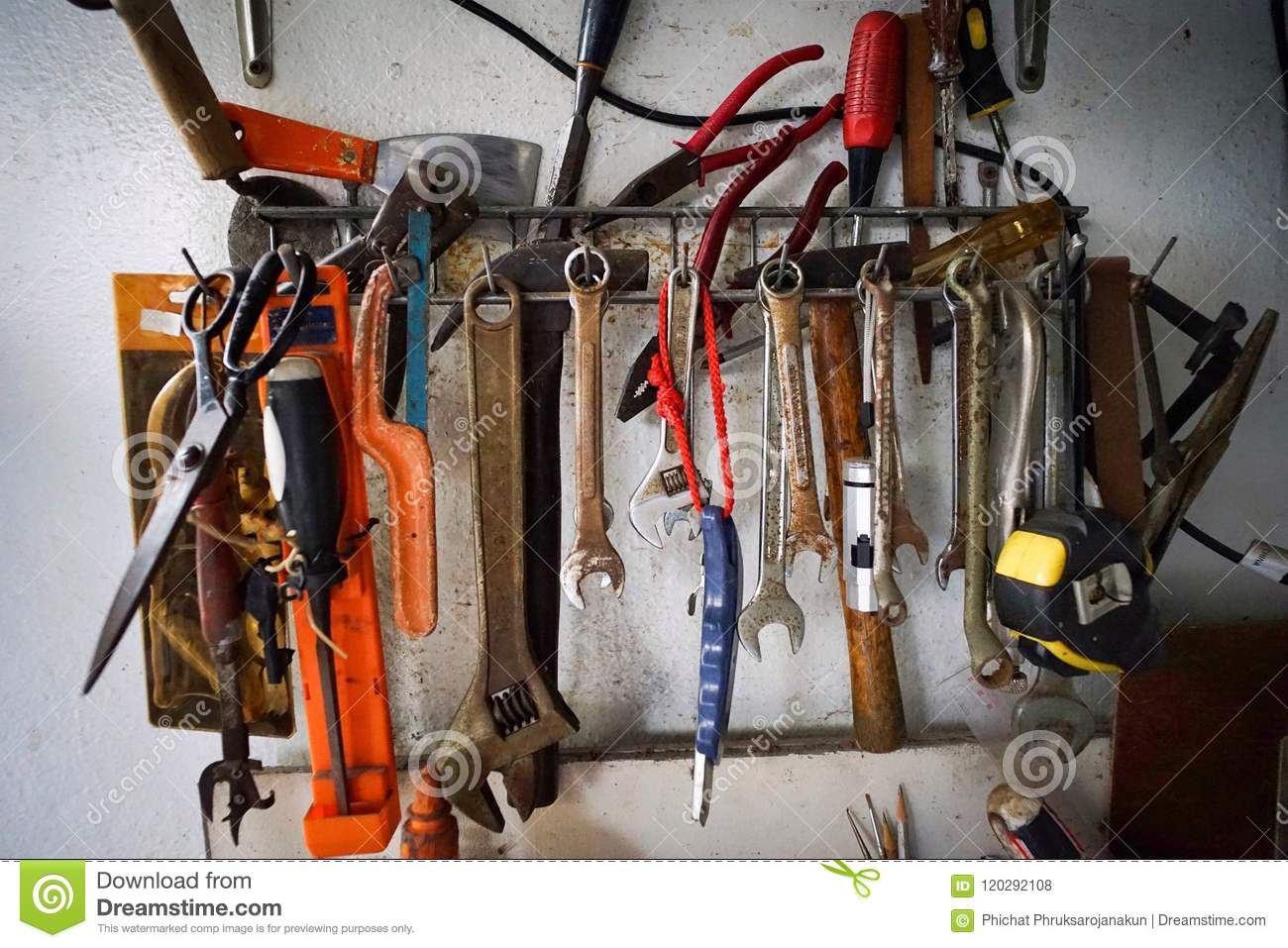 Tools Set Hang On The Concrete Wall Stock Photo Image Of Site